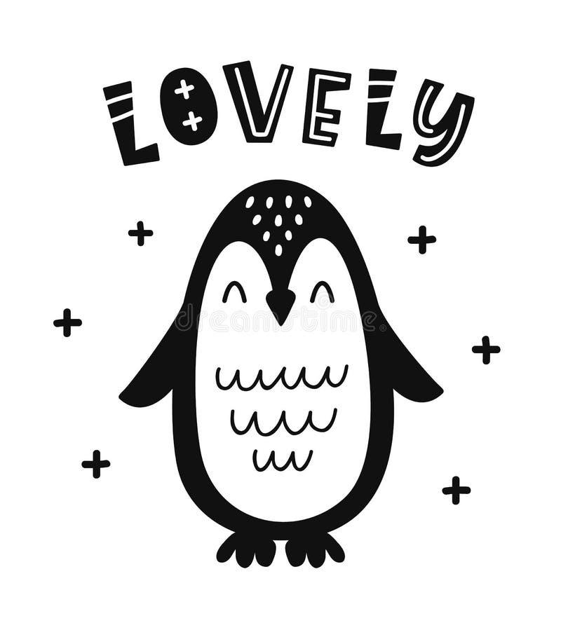 Cartaz criançola do estilo escandinavo com pinguim bonito ilustração royalty free