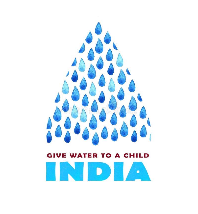 Cartaz da agua potável da caridade Ilustração social sobre a Índia dos problemas Dando doações para crianças e povos indianos Fun ilustração stock