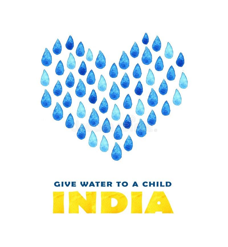 Cartaz da agua potável da caridade Ilustração social sobre a Índia dos problemas Dando doações para crianças e povos indianos Fun ilustração do vetor