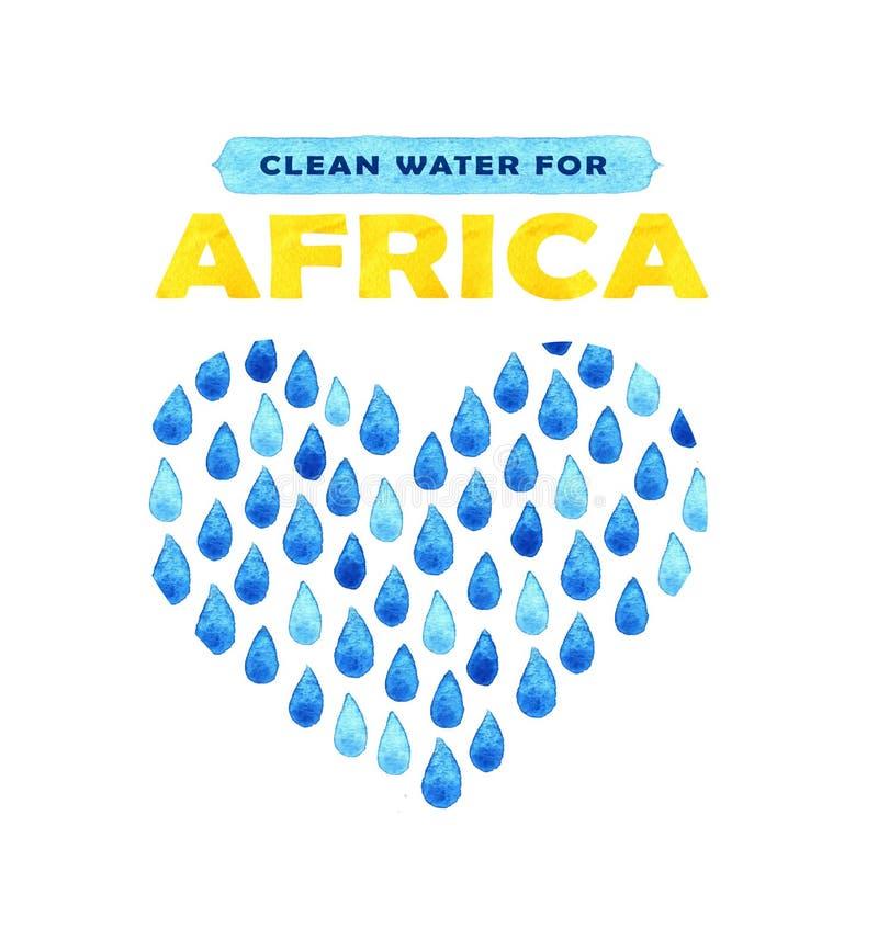 Cartaz da agua potável da caridade Ilustração social sobre problemas África Dando doações para crianças e povos africanos Foundat ilustração royalty free