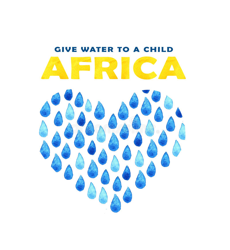 Cartaz da agua potável da caridade Ilustração social sobre problemas África Dando doações para crianças e povos africanos Foundat ilustração stock