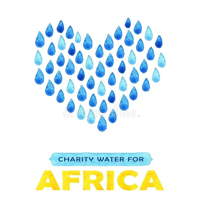 Cartaz da agua potável da caridade Ilustração social sobre problemas África Dando doações para crianças e povos africanos Foundat ilustração do vetor