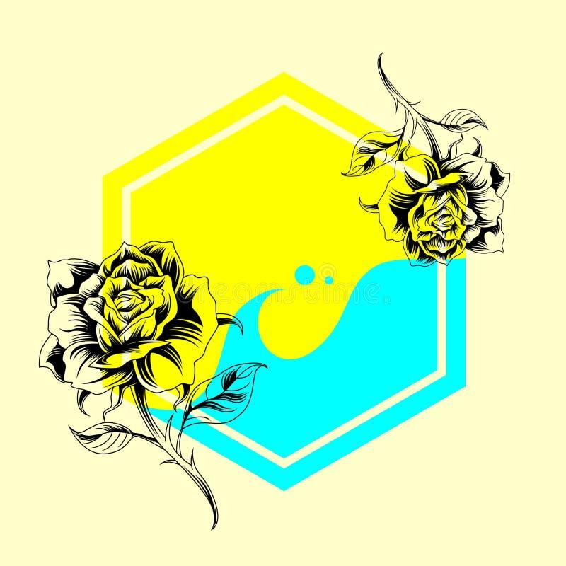 Cartaz da amostra de Rosa ilustração royalty free