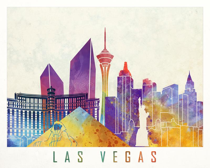 Cartaz da aquarela dos marcos de Las Vegas ilustração do vetor