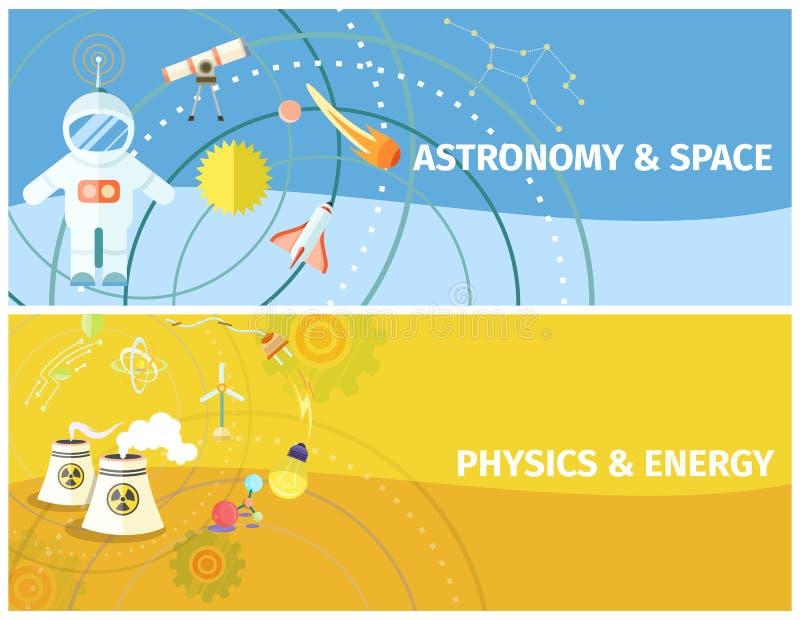 Cartaz da astronomia e do espaço, da física e da energia ilustração royalty free