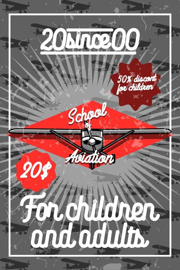 Cartaz da aviação do vintage da cor ilustração stock