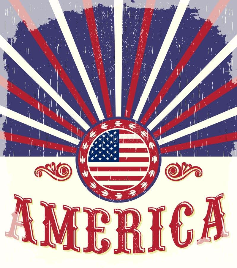 Cartaz da bandeira do vintage de América - cartão, ocidental ilustração do vetor