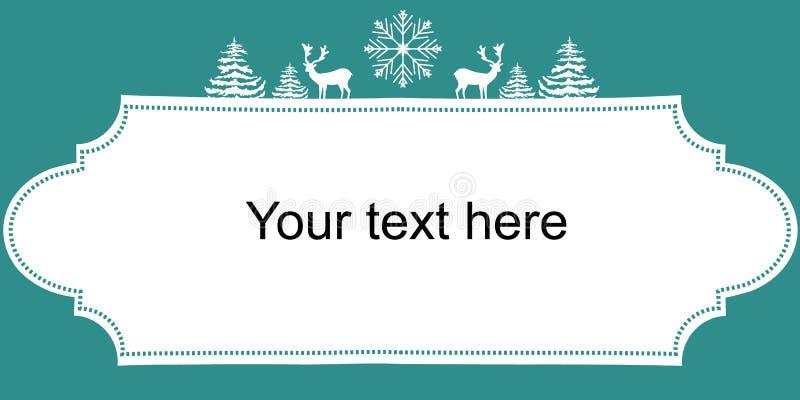 Cartaz da bandeira da Web dos anos novos do Natal Floco da neve dos abeto dos cervos das silhuetas do branco Frame do vintage Cop ilustração royalty free