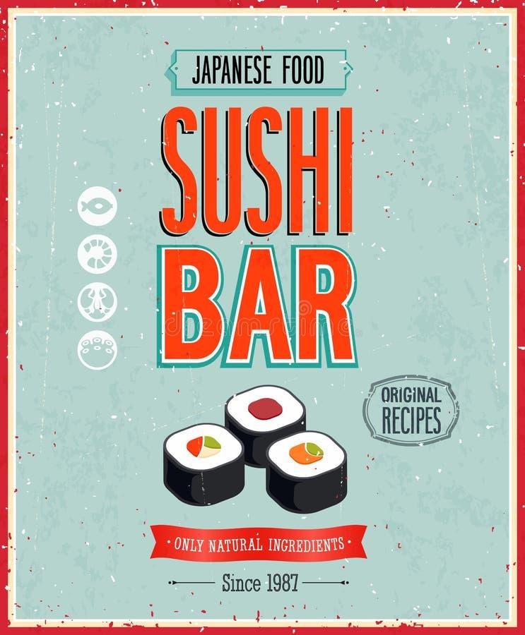 Cartaz da barra de sushi do vintage. Ilustração do vetor. ilustração royalty free