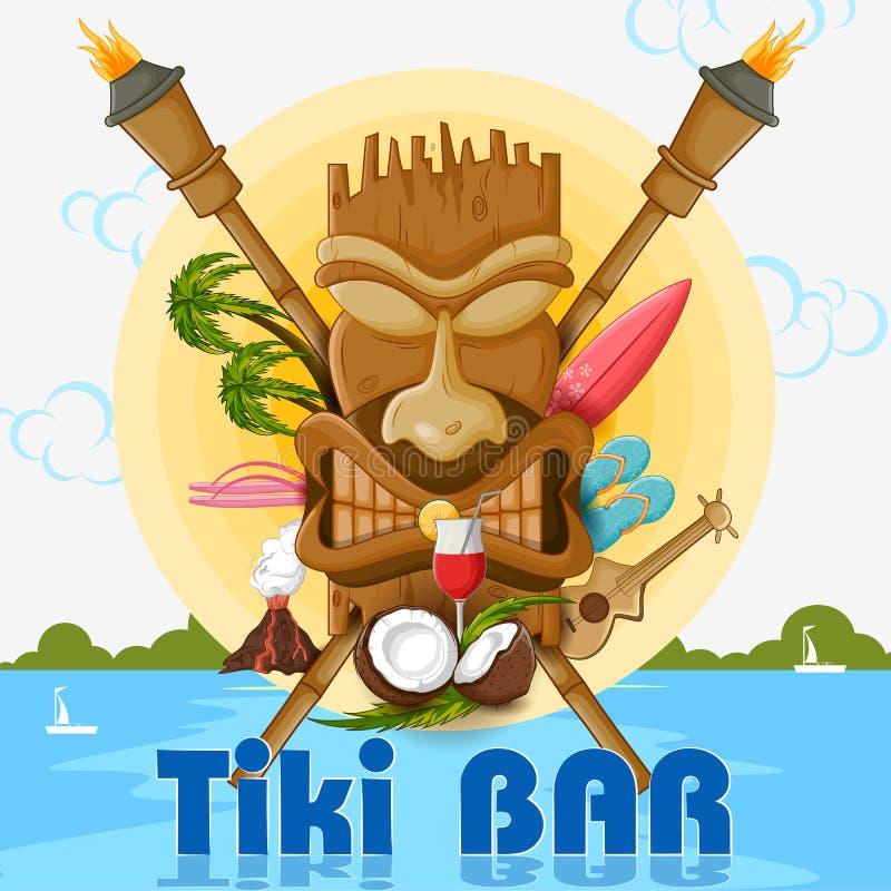 Cartaz da barra de Tiki com máscara tribal ilustração royalty free