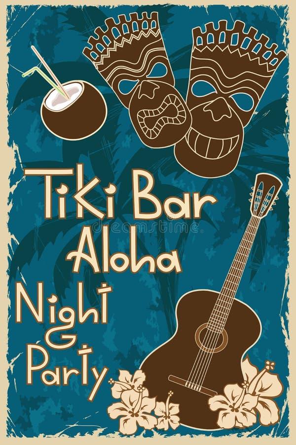 Cartaz da barra de Tiki do vintage ilustração stock