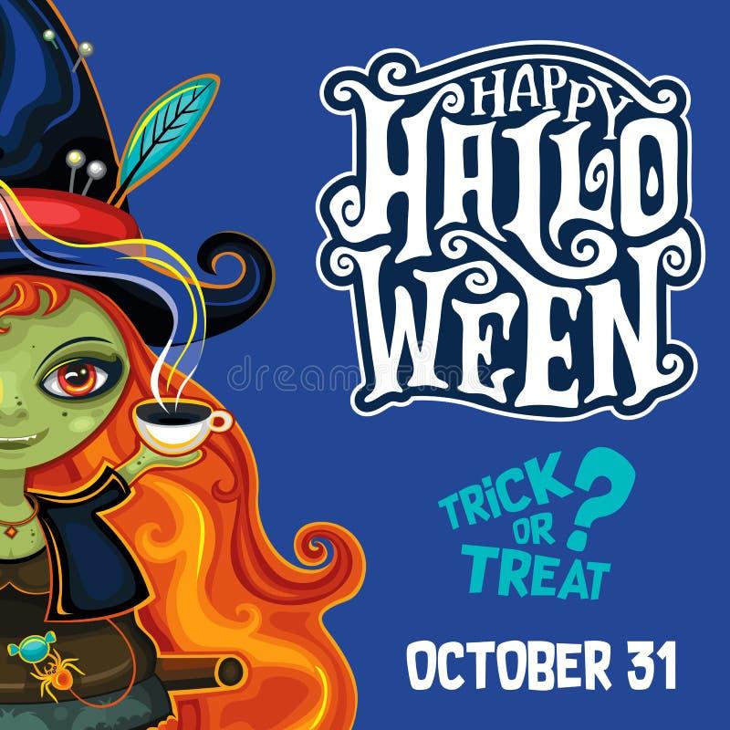 Cartaz da bruxa de Dia das Bruxas do vetor com rotulação foto de stock