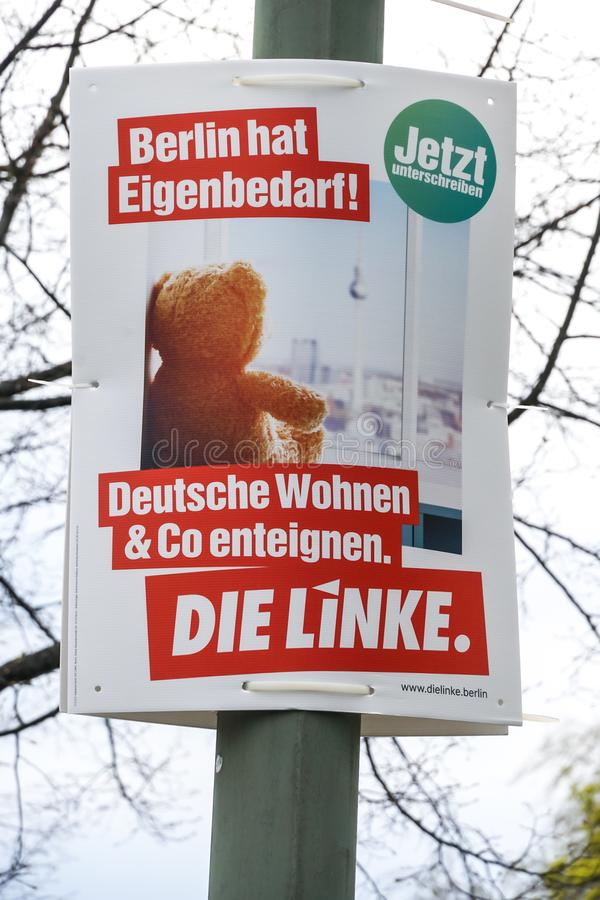 Cartaz da campanha eleitoral do dado Linke, partido pol?tico alem?o imagem de stock