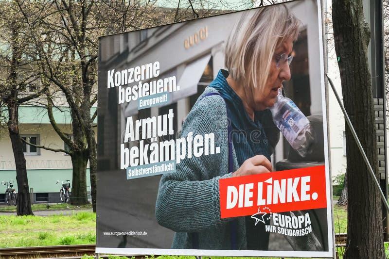 Cartaz da campanha eleitoral do dado Linke, partido pol?tico alem?o imagem de stock royalty free