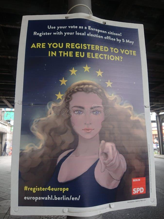 Cartaz da campanha eleitoral do SPD fotos de stock royalty free