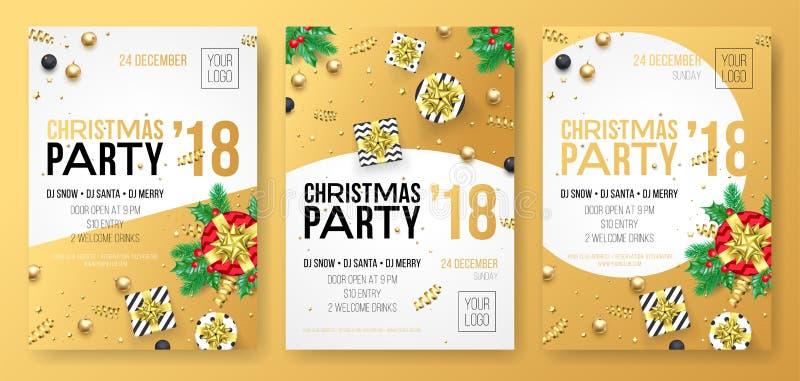 Cartaz da celebração da festa natalícia do inverno do Natal ou cartão do convite do presente dourado do presente da decoração e d ilustração do vetor