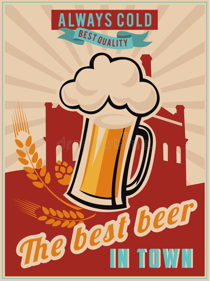 Cartaz da cerveja do vintage imagem de stock