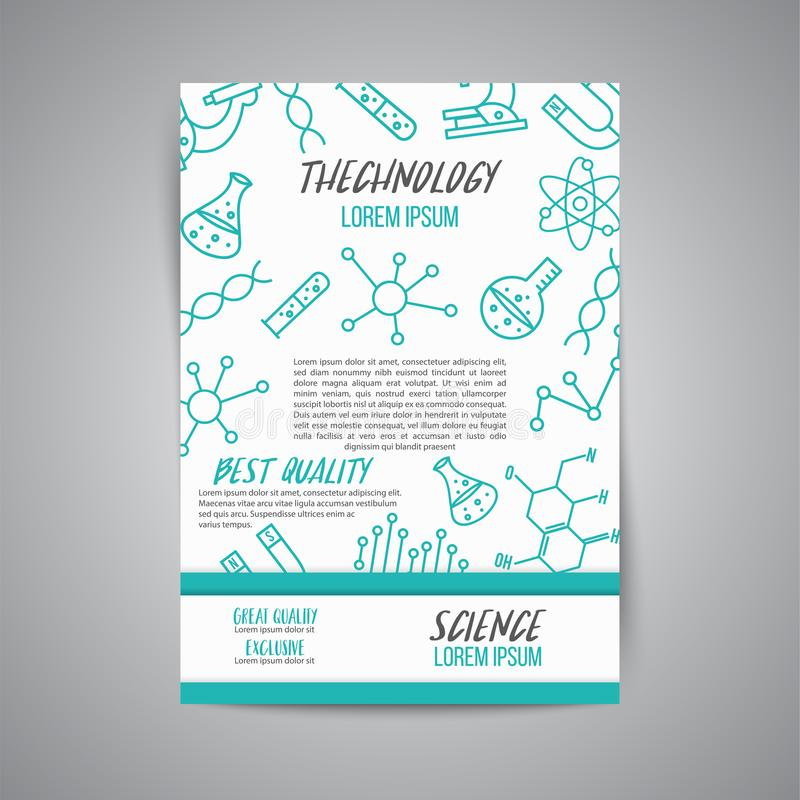 Cartaz da ciência no fundo branco Ícone do esboço da pesquisa Linha minúscula elementos do vetor Laboratório e folheto da educaçã ilustração stock