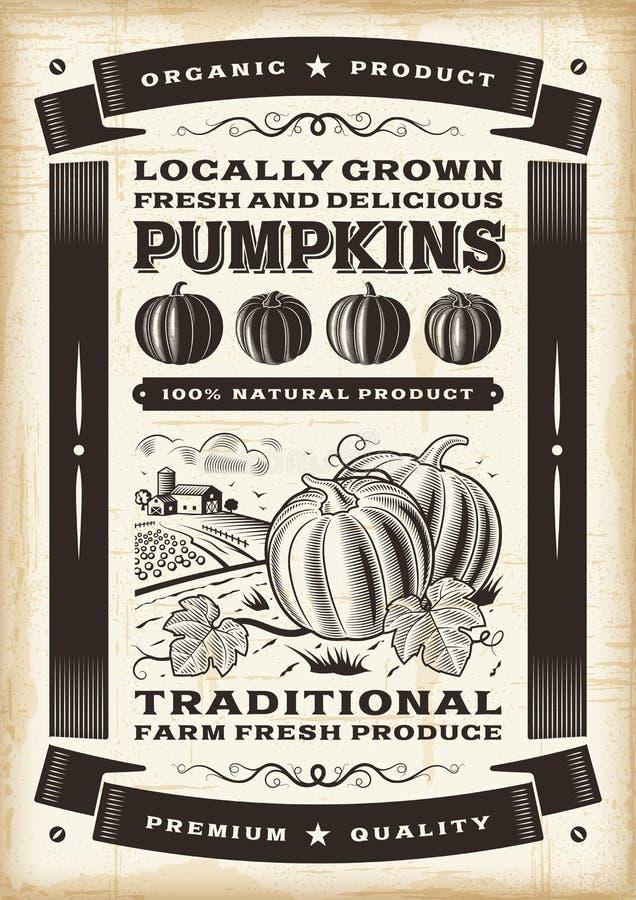 Cartaz da colheita da abóbora do vintage ilustração royalty free