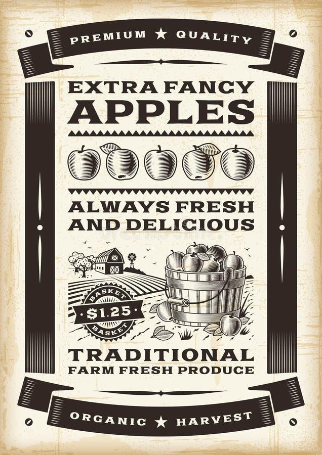 Cartaz da colheita da maçã do vintage ilustração royalty free