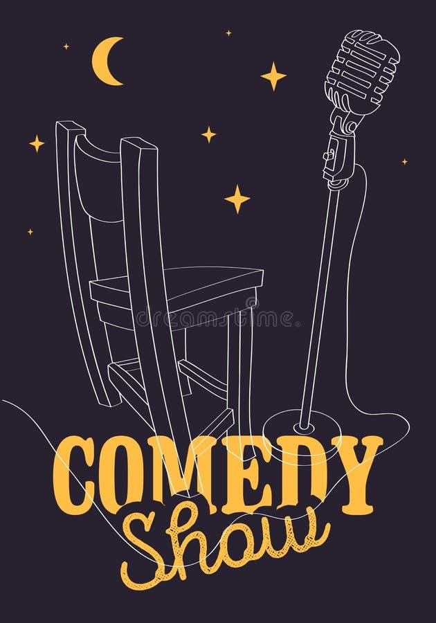 Cartaz da comédia com imagem do vetor da cadeira e do microfone da barra ilustração do vetor