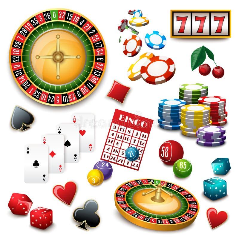 Cartaz da composição do grupo de símbolos do casino ilustração royalty free