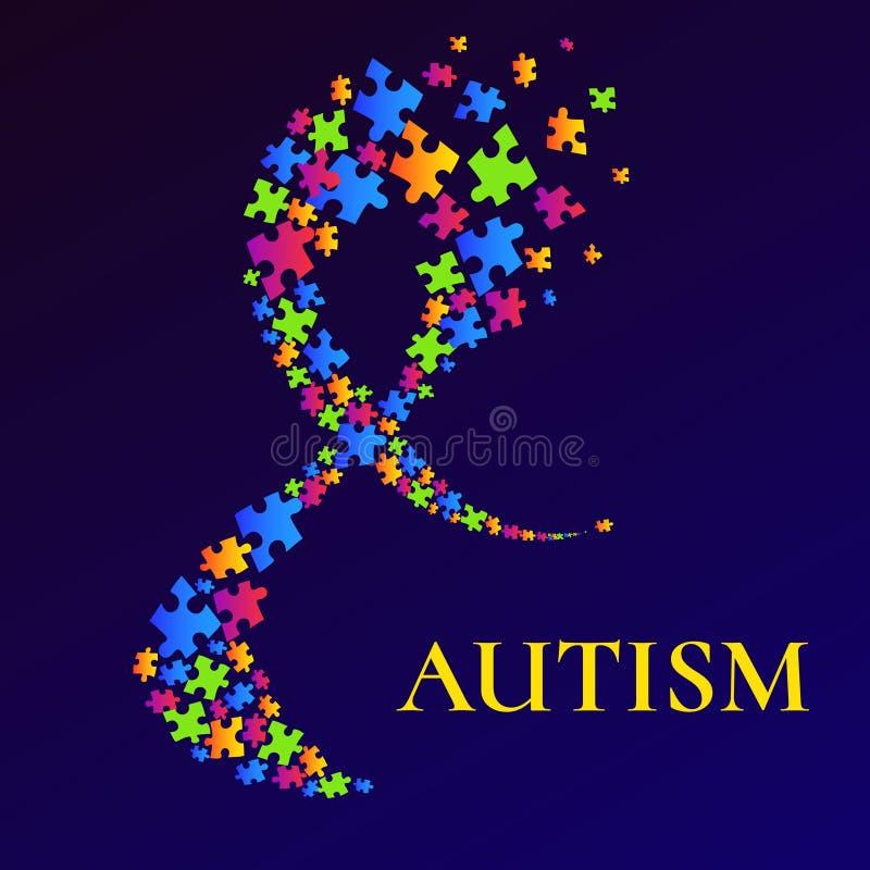 Cartaz da conscientização do autismo com a fita confundida multicoloured ilustração do vetor