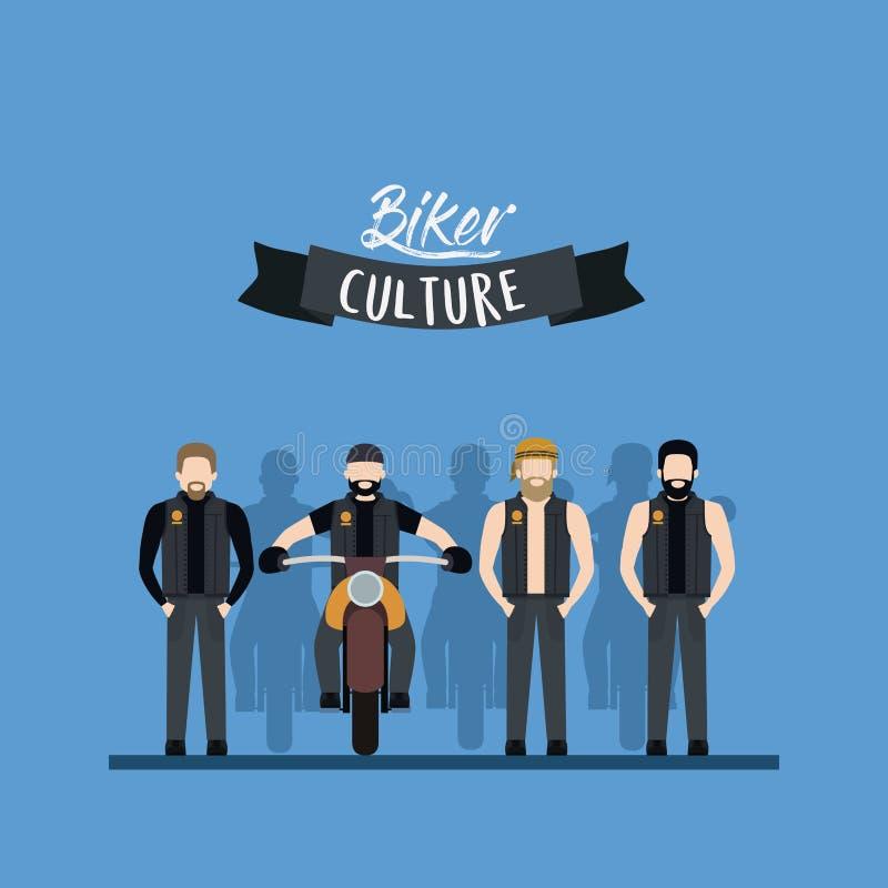 Cartaz da cultura do motociclista com grupo de estar dos homens e homem na motocicleta clássica e no fundo azul da cor ilustração do vetor