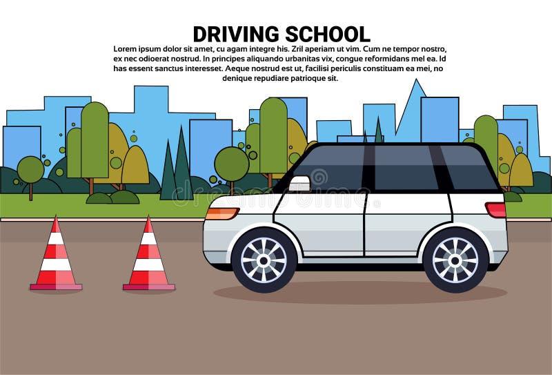 Cartaz da escola de condução, carro na estrada, auto conceito do exame da prática da educação da movimentação ilustração royalty free