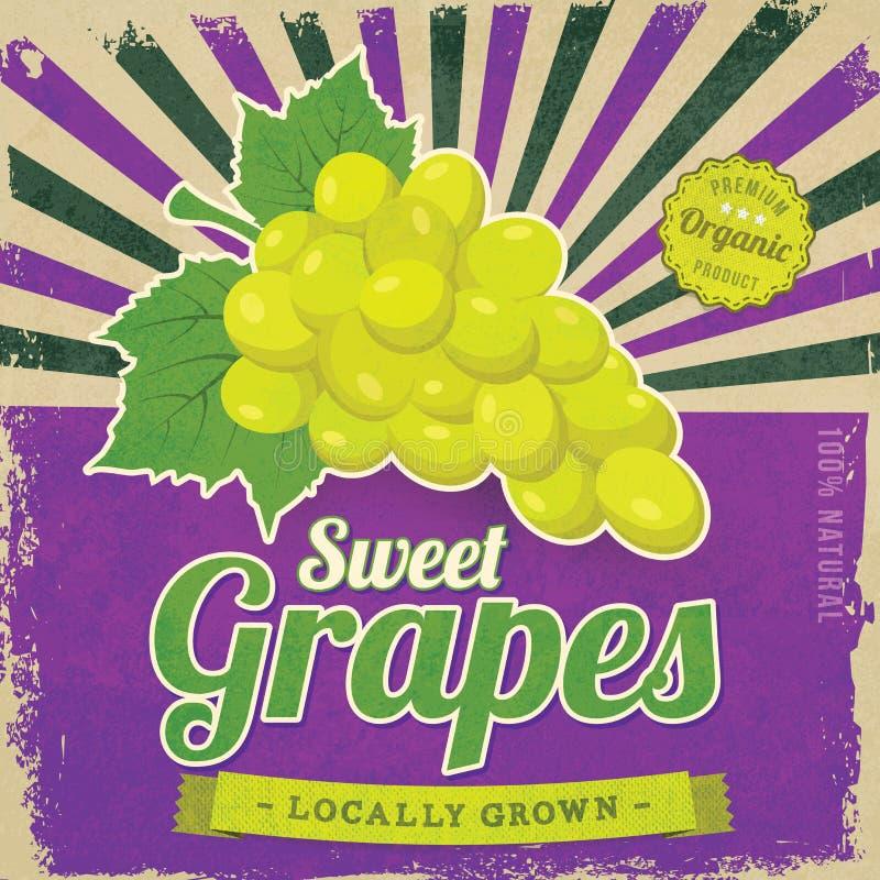 Cartaz da etiqueta das uvas fotografia de stock