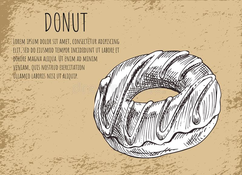 Cartaz da filhós com ilustração do vetor da sobremesa ilustração stock