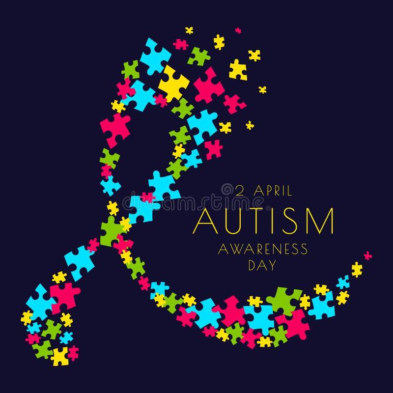 Cartaz da fita do autismo ilustração do vetor