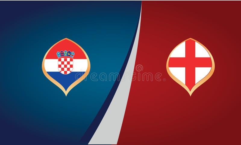 Cartaz da harmonia de futebol entre as equipas nacionais de Croácia e Inglaterra ilustração do vetor