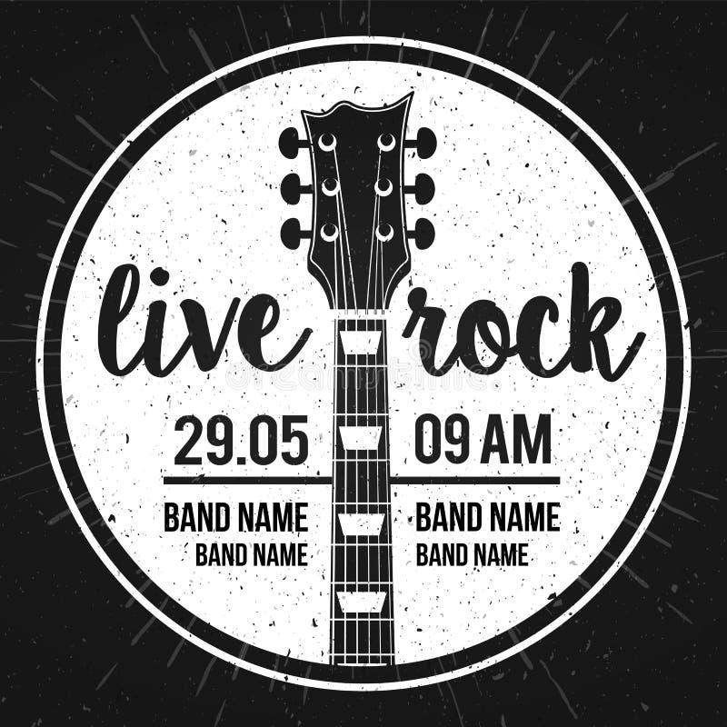 Cartaz da ilustração do vetor para um festival de música rock vivo com guitarra e inscrição no estilo retro Molde para insetos, b ilustração stock