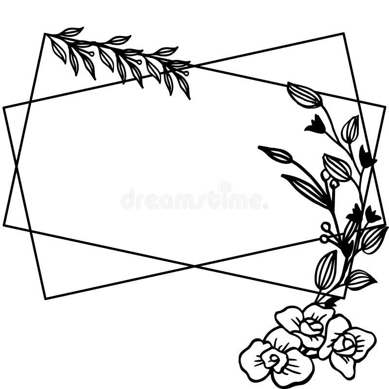 Cartaz da ilustração do vetor para vário ornamentado de quadros florais ilustração do vetor