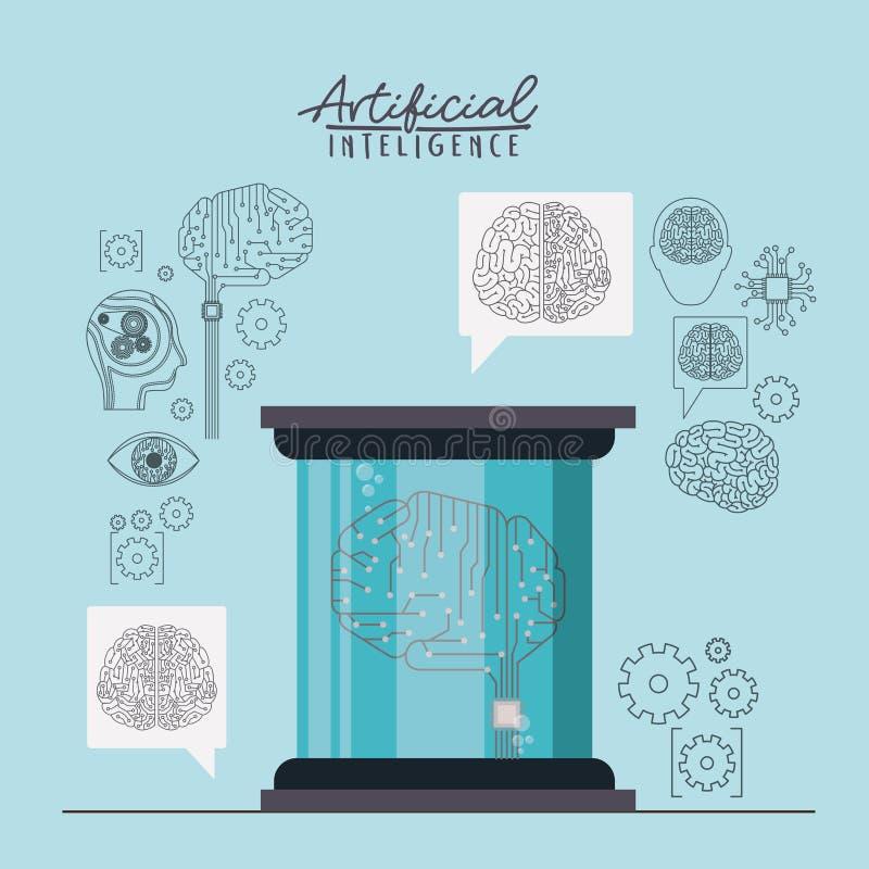 Cartaz da inteligência artificial com microplaqueta e circuito eletrônico na forma do cérebro no recipiente transparente na luz - ilustração stock
