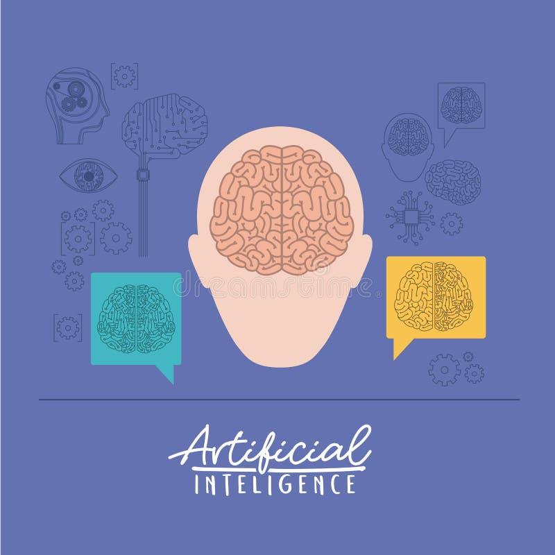Cartaz da inteligência artificial com a silhueta da cabeça humana com o cérebro na vista dianteira no fundo violeta ilustração stock