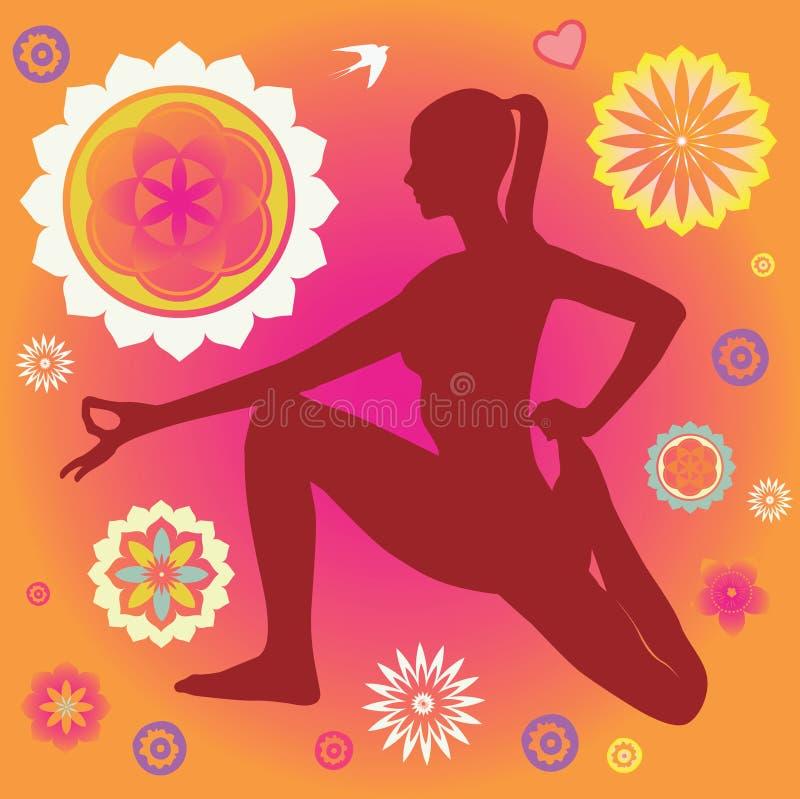 Cartaz da ioga com elementos decorativos da flor ilustração royalty free