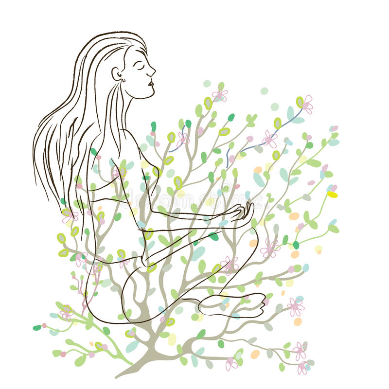 Cartaz da ioga com esboço da menina e fundo da natureza ilustração royalty free