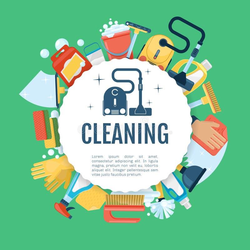 Cartaz da limpeza da casa O molde home dos serviços do vetor com agregado familiar fornece ícones ilustração do vetor