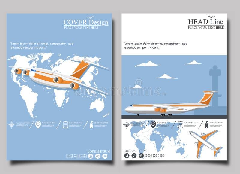 Cartaz da linha aérea ajustado com avião ilustração royalty free