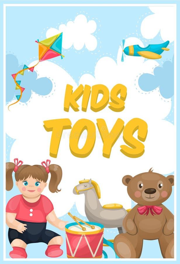 Cartaz da loja dos brinquedos das crianças ilustração royalty free