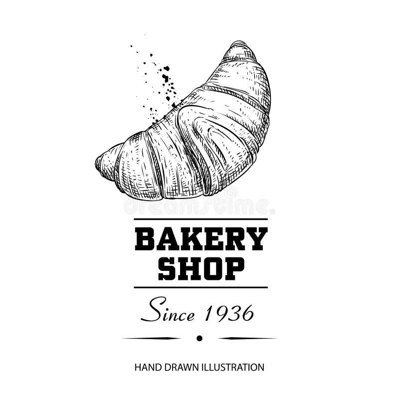 Cartaz da loja da padaria Estilo tirado mão cozido fresco do esboço do croissant Produto tradicional do café da manhã da manhã Il ilustração royalty free