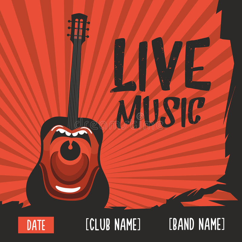 Cartaz da música ao vivo com uma guitarra gritando Ilustração do vintage ilustração royalty free