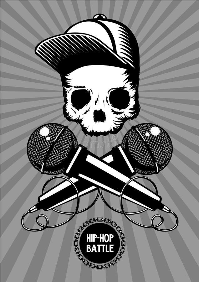 Cartaz da música da batalha do hip-hop com crânio e microfones Ilustração do vetor da mostra da batida ilustração do vetor