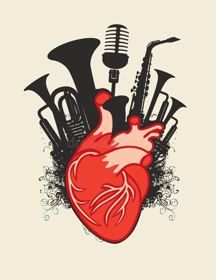 Cartaz da música com os instrumentos humanos do coração e de vento ilustração royalty free