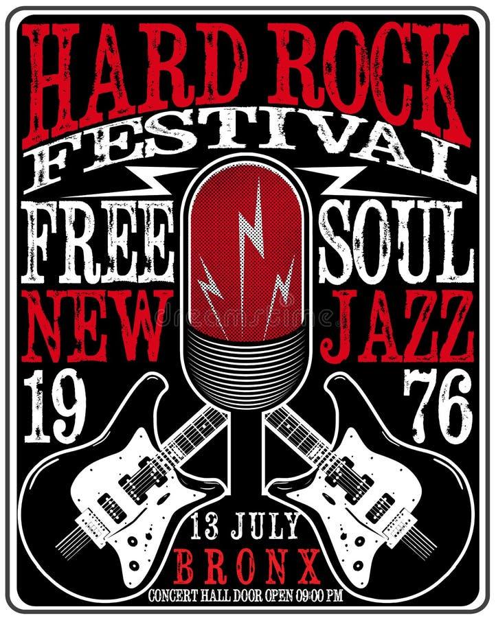 Cartaz da música de hard rock ilustração royalty free