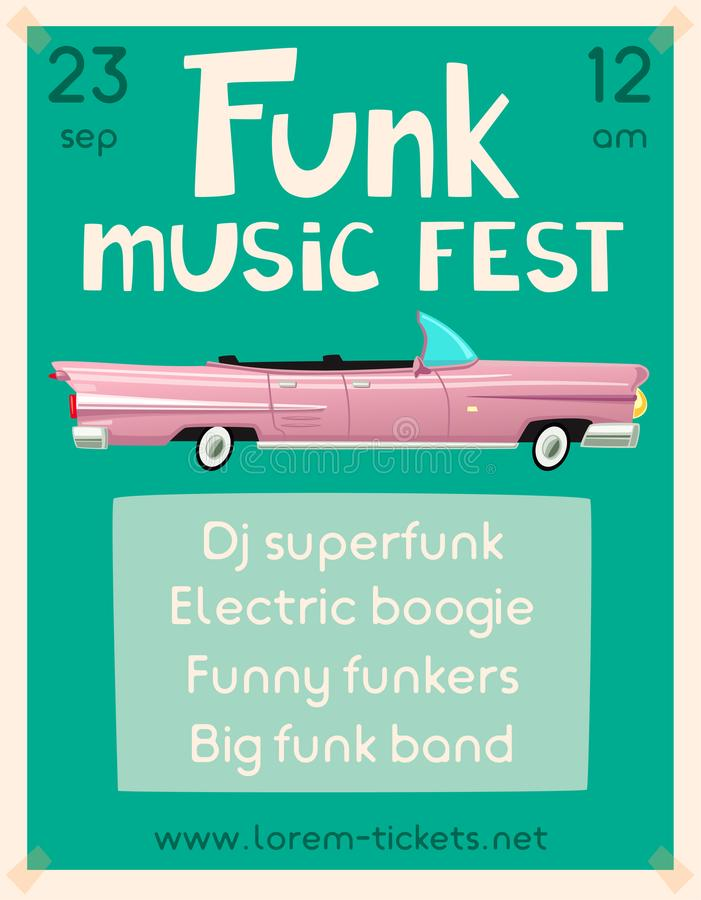 Cartaz da música do funk Ilustração do vetor dos desenhos animados ilustração do vetor