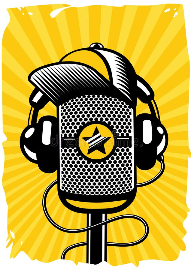 Cartaz da música do hip-hop com microfone do vintage Música ao vivo, partido da batida Ilustração do vetor ilustração do vetor