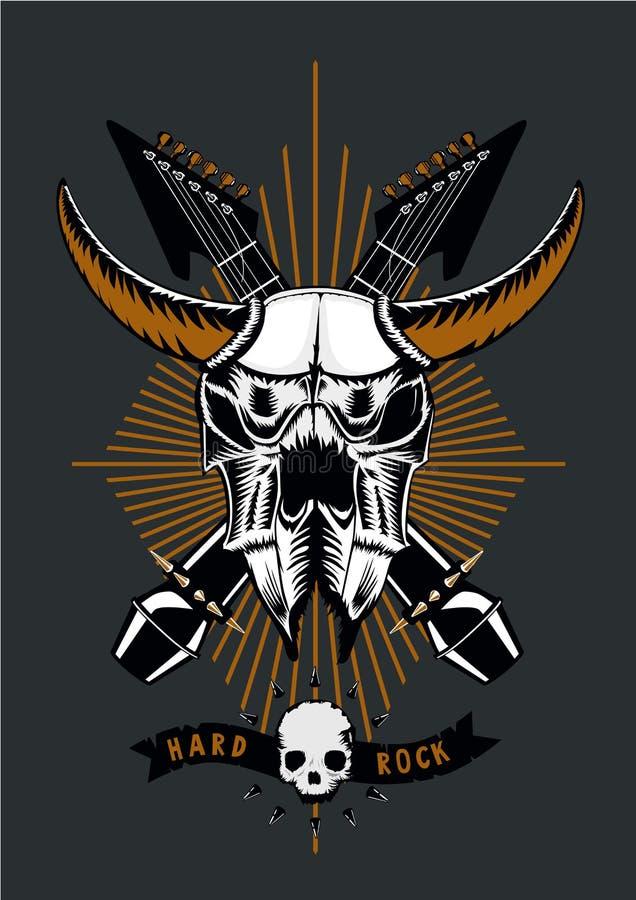 Cartaz da música rock com crânio, microfone e guitarra do touro Estilo do Grunge Ilustração do vetor Tatuagem do metal pesado ilustração do vetor